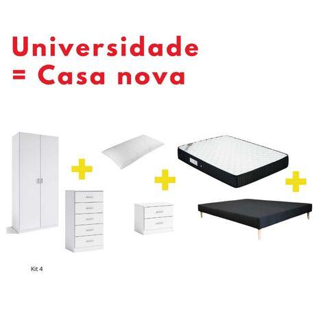 Kit- Base estofada, Colchão,  Roupeiro, Camiseiro, Mesinha, Almofada