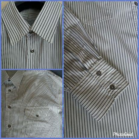 Koszula męska BURTON; biała w paski; XXL; 100% bawełna