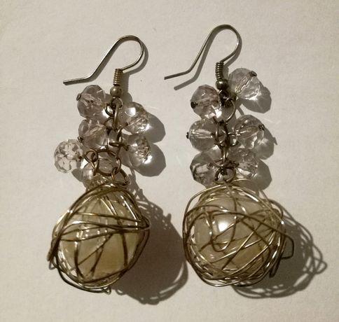 Wiszące srebrne kolczyki koszyczki perła w gniazdku