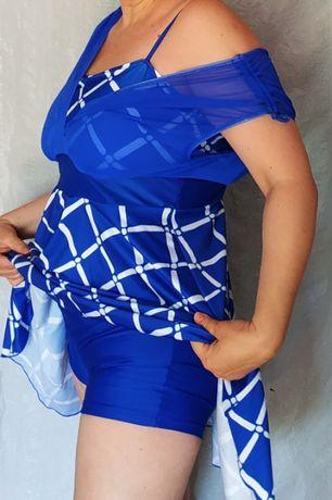 Платье-купальник, р.52/54, цвет синий темный