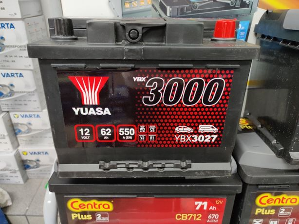 Akumulator YUASA YBX3027 12V 62Ah 550A P+ Dowóz Kraków CB620 D24