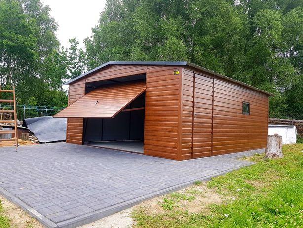 Nowoczesne Garaże PREMIUM drewnopodobne wzmocnione profil (blaszaki)