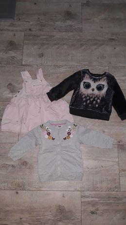 Paka zestaw Ubranka dla dziewczynki 86, bluzki spodnie itp