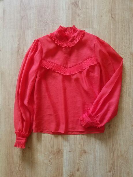 Czerwona elegancka bluzka z falbankami falbanami stójką bufkami S M HM