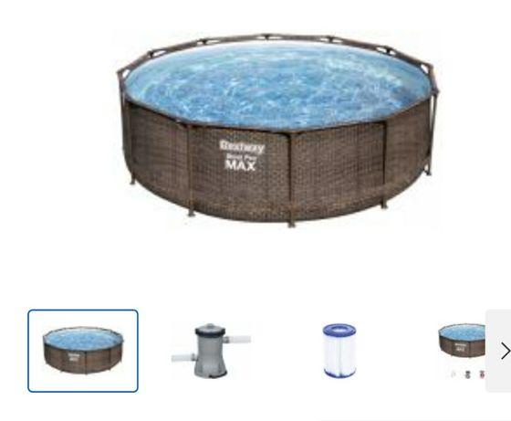 Каркасний бассейн 366×100см с картриджным фильтром и лестницей