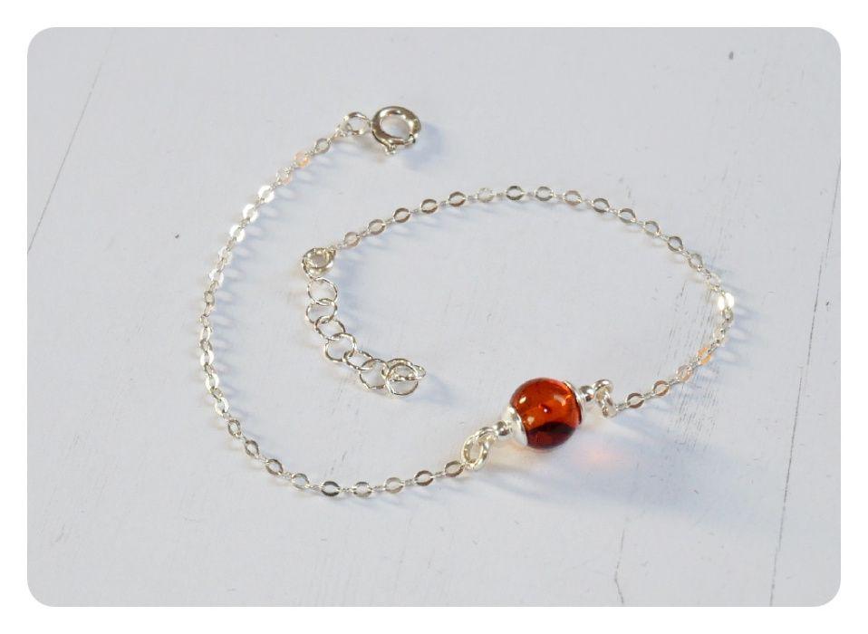 Delikatna,srebrna 925 bransoletka z bursztynem Dębe - image 1