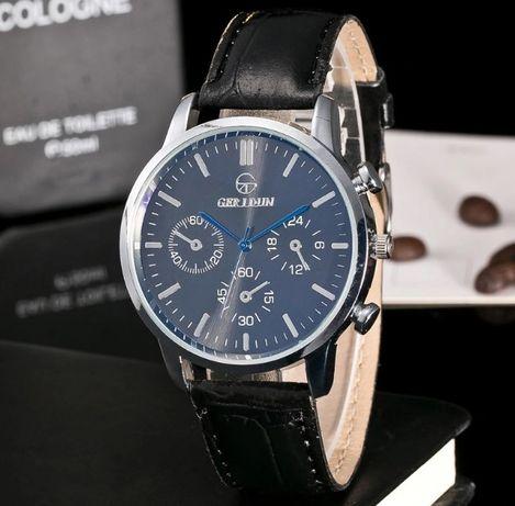 Мужские кварцевые часы Geridun Кожаный ремешок