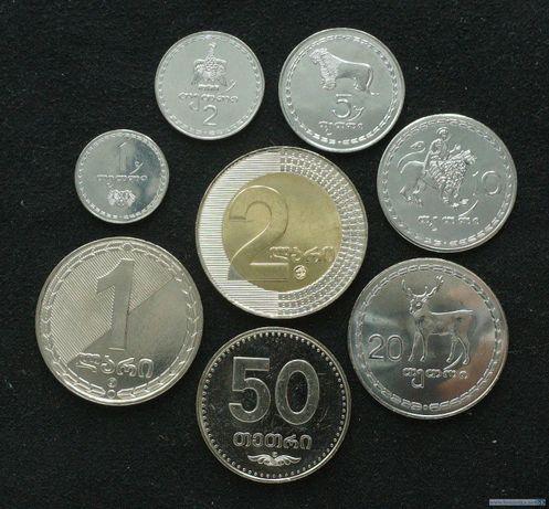 Набор монет 1, 2, 5, 10, 20, 50 тетри, 1 и 2 лари, 1993-2006 Грузия