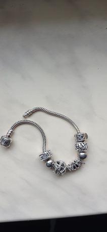 Bransoletka Ala pandora srebrna 17 cm plus charmsy