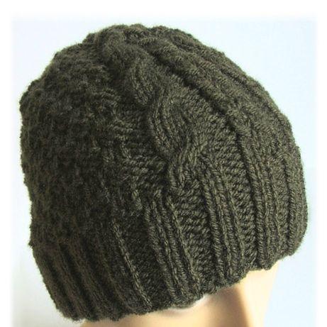 Męska czapka - ciemna oliwka - rękodzieło