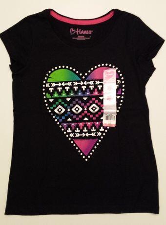 Czarny t-shirt / podkoszulek z kolorowym nadrukiem – Nowy (z metką)