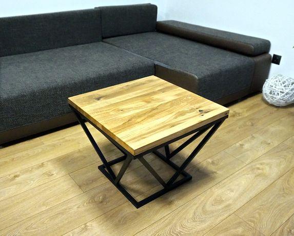 Stolik kawowy ława LOFT Industrialny 60x60 nowoczesny lity DĄB