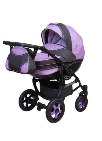 Стильная коляска для новорожденных Angelina 2в1 Discovery сиреневая