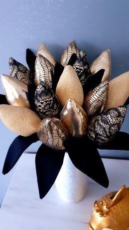 Tulipany z materiału błyszczące glamour złote srebrne prezent utodziny