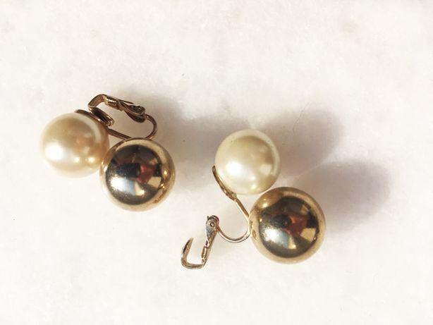 klipsy kolczyki złoto perła kulki, koła, antykwariat, vintage