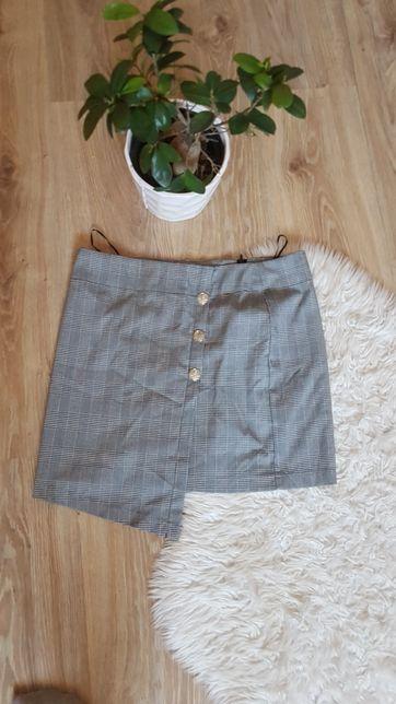 Krótka spódnica w kratę, z guzikami, asymetryczna,w kratke, elegancka
