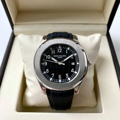 Patek Philippe Aquanaut Silver Black мужские механические часы
