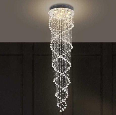 Elegancki Kryształowy Żyrandol LED Podwójna Spirala Kształt Kropli XXL
