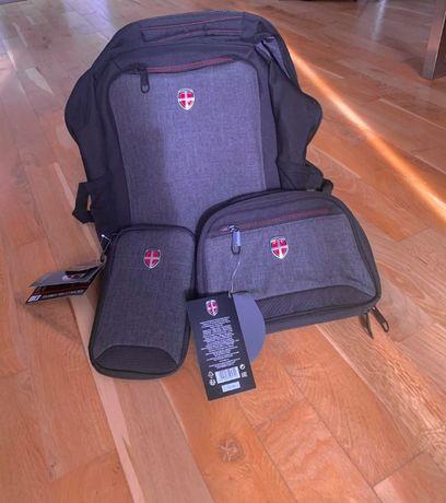 Plecak Ellehammer wraz z kosmetyczka i portfelem na dokumenty