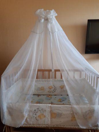 Балдахин на детскую кроватку+защита