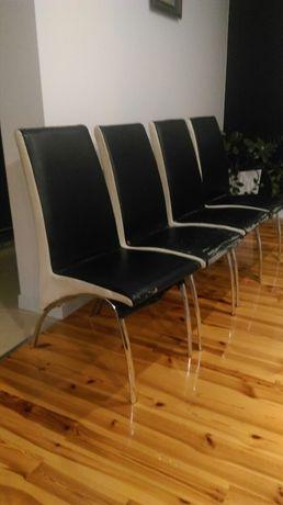 Krzesła 4 kuchnia jadalnia chrom ekoskóra