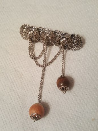 Винтажная брошь брошка значок ссср бусины жолудь дерево цепочка