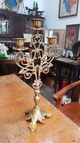 Mosiężny 3 ramienny świecznik vintage lata 40 kolekcja retro krk