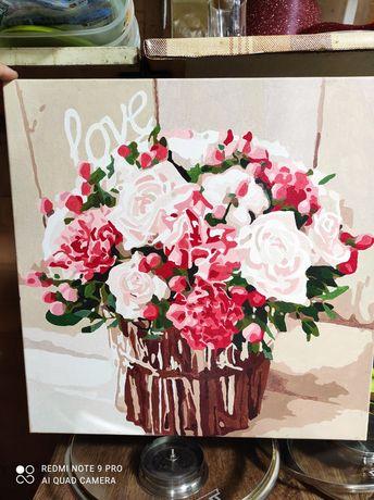 Готовая картина по номерам 40×40. Покрыта лаком! Розы. Букет. Любовь