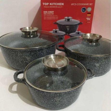 Посуда набор 3 кастрюли разного размера гранитное покрытие