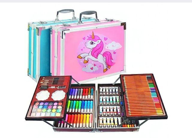 Металлический кейс Набор чемодан творчества юного художника 145 пр