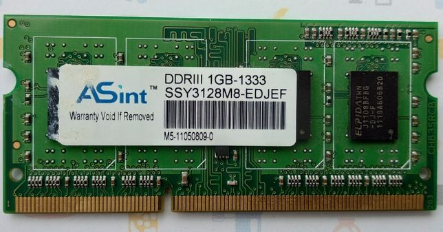 DDR3 в ноутбук 1 Гб ASint 1 GB PC3-10600 1333 MHz SSY3128M8-EDJEF