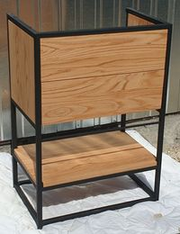 Szafka pod umywalkę loft. Drewno dębowe i szuflada cichy domyk.