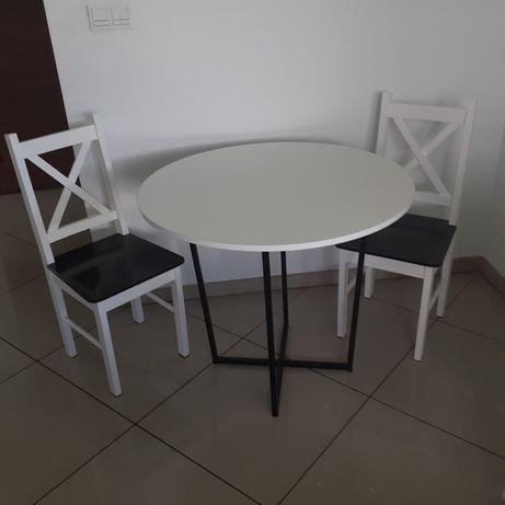 Stół biały z krzesłami