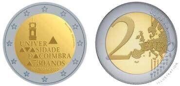 Moeda 2 euros Universidade de Coimbra 2020 UNC