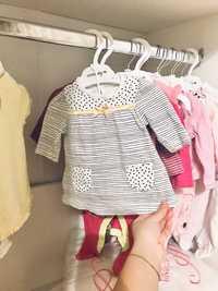 Коробка вещей одежды на девочку 0-3 в идеальном состоянии.