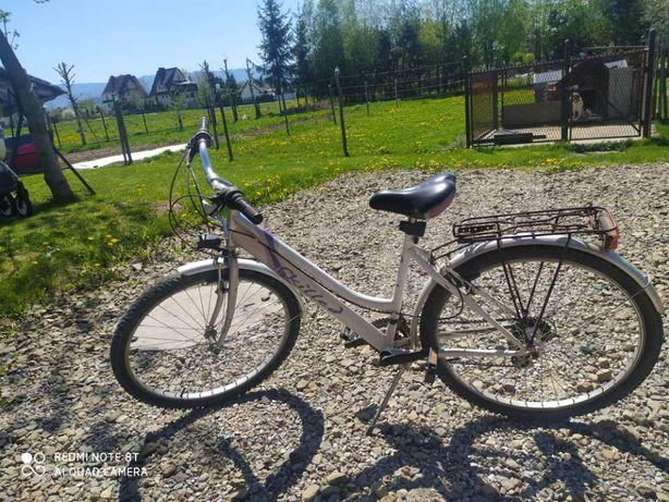 Biało fioletowy rower damski