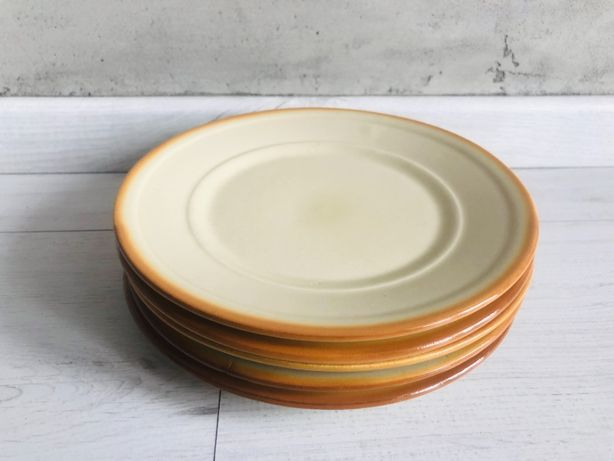 Talerze Tułowice PRL duże brązowy porcelana talerz komplet 5 sztuk