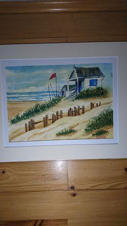 Obraz akwarela 30x40 pejzaż, Amerykańska plaża, sygnowany, papier