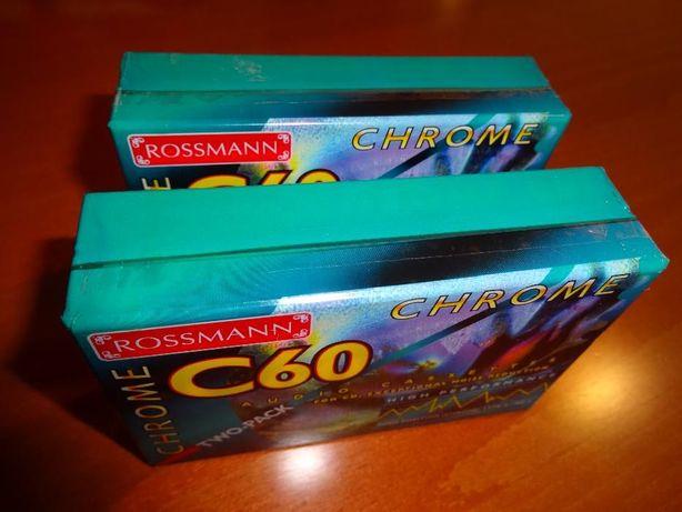 Rossmann C 60 Chrome - NOWE, chromowe kasety magnetofonowe (dwupaki)
