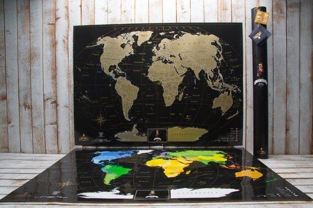 Черная скретч карта мира MyMap Black Edition