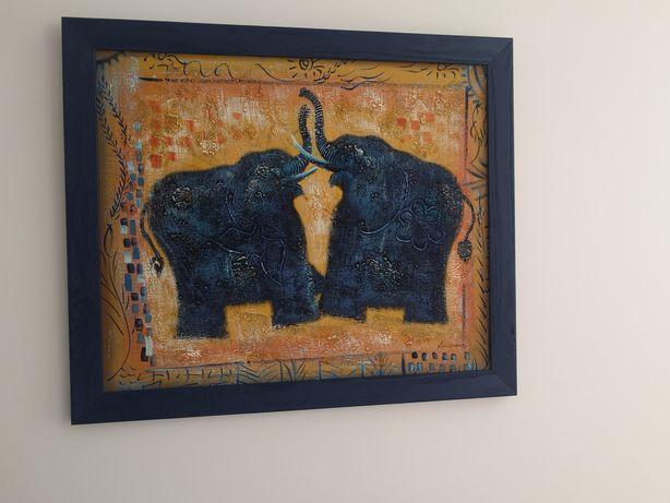 Quadro Pintura Óleo Elefantes de la Suerte