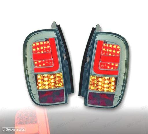 FAROLINS TRASEIROS DACIA DUSTER 10-13 LIGHT BAR / LED FUNDO CROMADO/FUMADO