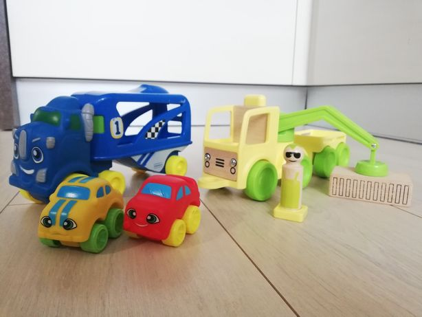 Zestaw auto dźwig + laweta zabawka