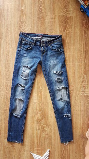 Spodnie jeans dziury szarpane bershka 36 ciemny dżins
