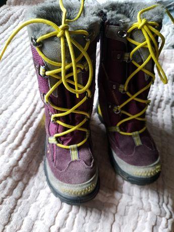 Kozaki śniegowce BARTEK 29 fioletowe neon ciepłe