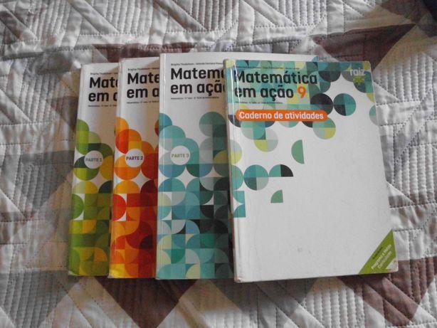 """Manuais de matemática """"Matemática em ação 9 ano"""""""