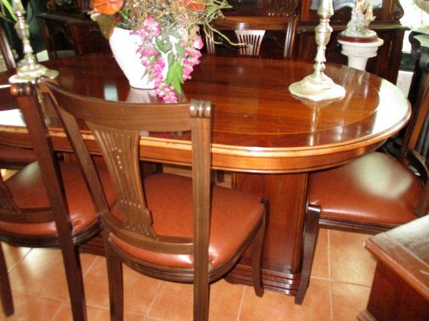 Mesa de sala raiz nogueira e cadeiras