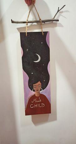 Картина на дереве луна звёзды девушка небо месяц