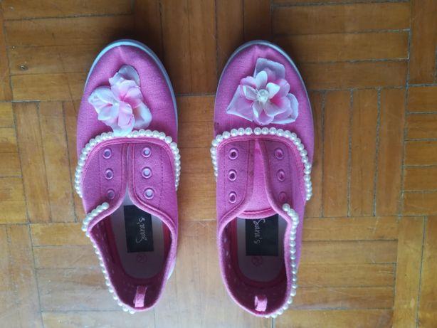 sapatilhas de menina cor de rosa