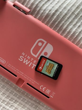 Nintendo switch lite coral pink różowe + animal crossing